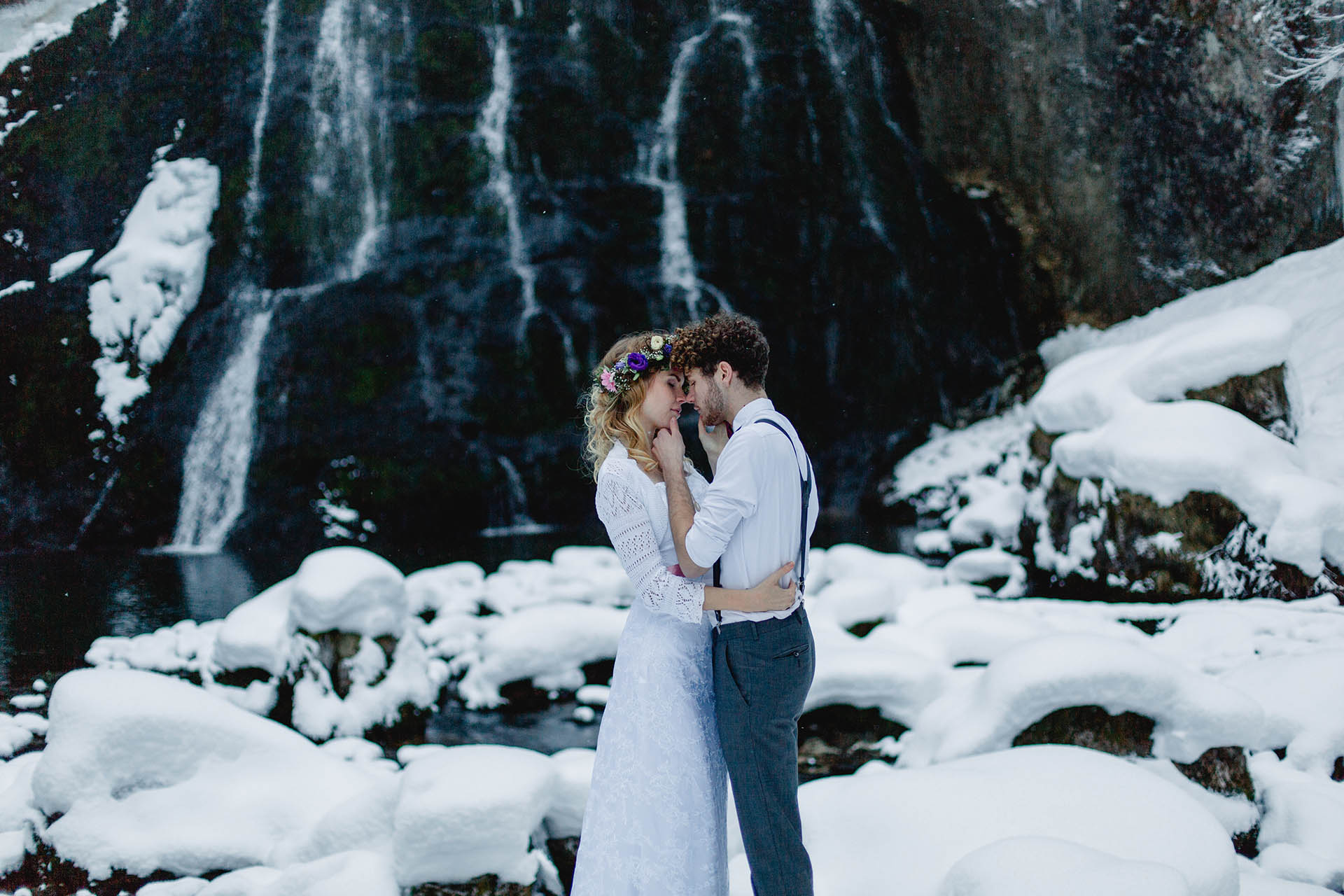 after wedding shooting im schnee - Hochzeit im Schnee