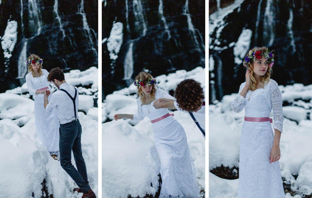 Winter Eis Hochzeit Wasserfall Vintagehochzeit