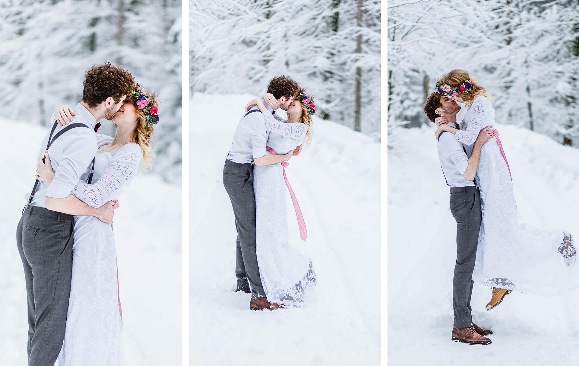 after wedding shooting im schnee