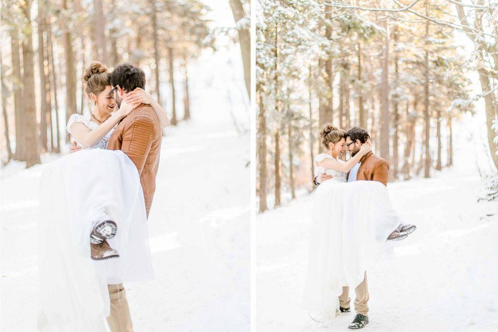 Denise Kerstin Wien Hochzeitsfotograf Mödling heiraten Schnee Winterhochzeit After Wedding im Schnee