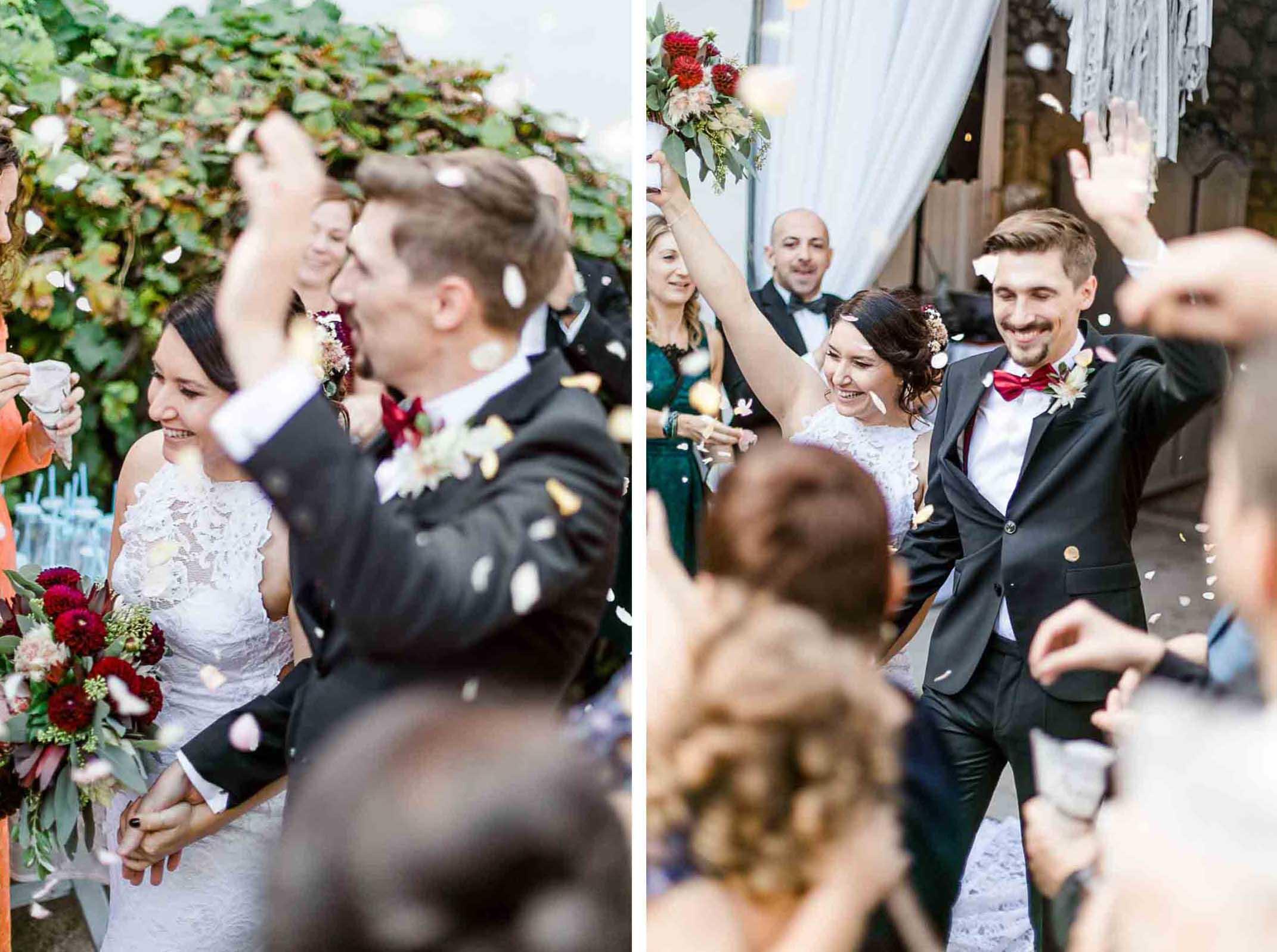 Himmelblau Rust Boho-Hochzeit Burgenland heiraten Boho Auszug Blütenblätter Hochzeitszeremonie