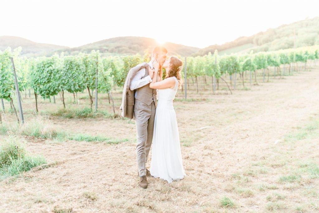 Weingarten Hochzeit Kahlenberg heiraten Mödling Sonnenuntergang Brautpaarfotos
