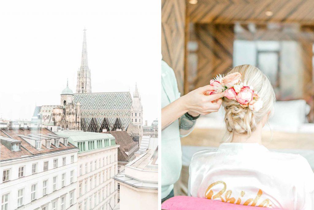 Getting Ready Lamee Rooftop Hochzeitsfotos Hochzeit Weingut Reisenberg heiraten outdoorwedding im Freien heiraten in Wien