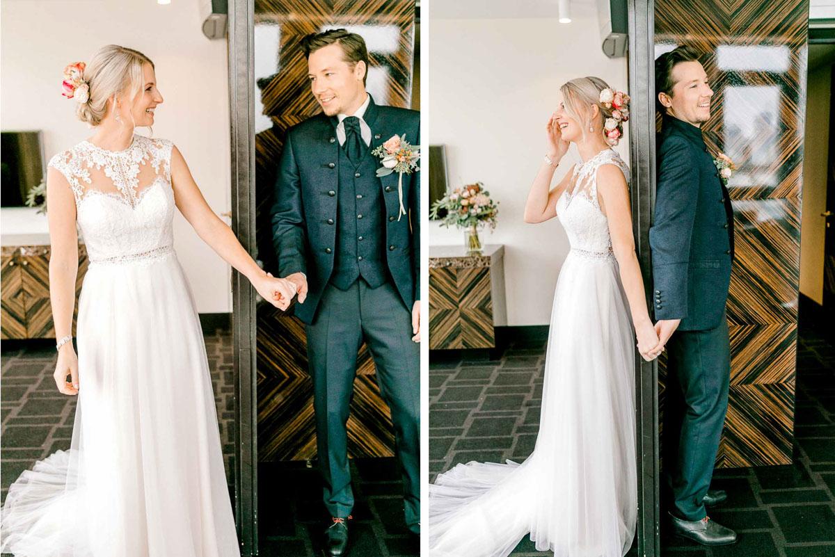 First Look Getting Ready Lamee Rooftop Hochzeitsfotos Hochzeit Weingut Reisenberg heiraten outdoorwedding im Freien heiraten in Wien